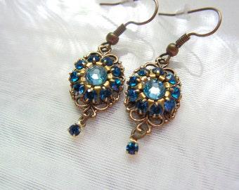 Capri Blue Cluster And Brass Filigree Swarovski Crystal Earrings