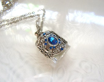 Vintage Inspired Silver Filigree Sapphire Rhinestone Crystal Perfume Bottle Necklace