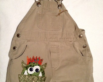 Size 12-18  mos. Baby Gap Short alls with Monster Applique