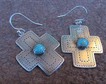 Larger Santa Fe Southwestern Cross Turquoise Earrings Kingman Turquoise and Sterling Silver