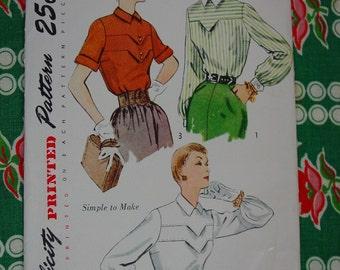 Vintage Pattern c.1950 Simplicity No.3400 Blouses, Size 14