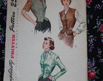 Vintage Pattern c.1949 Simplicity No.2962 Weskit and Jacket, Size 14