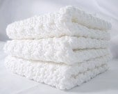 Dishcloth Set Crisp White Cotton Crochet - 3 Pack Extra Large 9x9