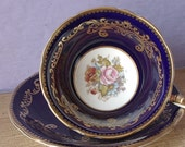 Antique Aynsley JA Bailey tea cup set, navy blue tea cup, hand painted pink rose tea cup, English cup and saucer, bone china tea cup