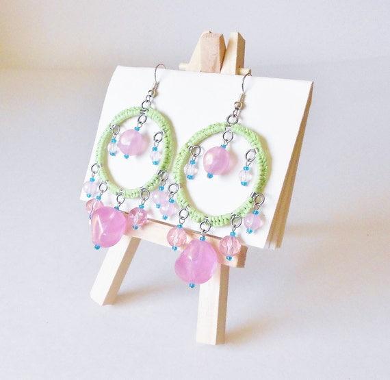 Preppy Pink & Green Chandelier Beaded Earrings