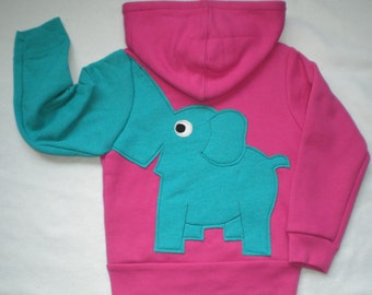 Toddler girls zip front hoodie, hooded sweatshirt, pink with turquoise elephant trunk sleeve, elephant back, 4T or 5T
