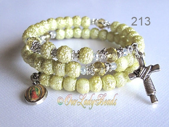 Rosary Bracelet,Lime Textured Pearl Beads Wrap Rosary Bracelet Victorian Antique Style Rugged Pearl Beads, Religious Jewelry,213