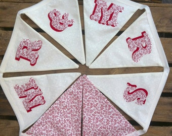 Mr & Mrs Wedding Bunting, garland, pennant with red floral cotton by Emma Bunting