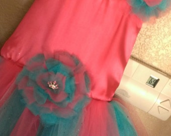 Flower Girl Dress in Coral and Teal