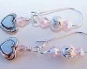 pink heart charm dangle earrings Swarovski crystal earrings heart charms earrings