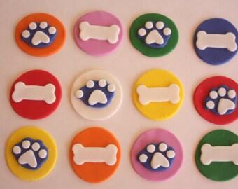 12 fondant cupcake toppers--dog bones, bones and paws
