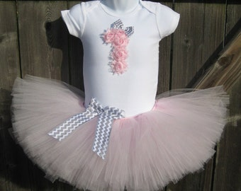 Light Pink and Grey Chevron First Birthday Tutu Set | First Birthday Light Pink Rosette 1 and Tutu, Grey Chevron Bows, and Matching Headband