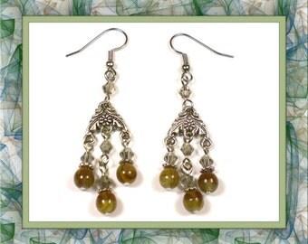 Brown Topaz Chandelier Earrings (Clip-On by Request)