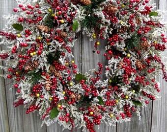 Christmas Wreath , Winter Wreath ,Holiday Christmas Wreath ,  Berries Wreath , Winter Wreaths , Holiday Door Wreath ,
