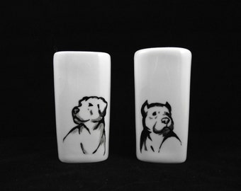 Pit Bull hand painted art on porcelain salt and pepper shakers