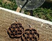 Wood Flower of Life Earrings