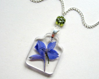 Blue Delphinium - Real Flower Enchanted Garden Necklace - Pressed flower, natural, garden, everyday casual, minimal, summer, ooak, gift