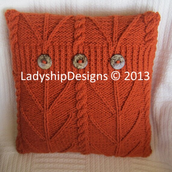 Knitting Pattern Envelope Cushion : PDF KNITTING PATTERN, cable knit pillow cover pattern, knitted cushion patter...