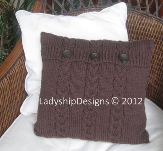 PDF KNITTING PATTERN, cable knit pillow cover pattern, 16