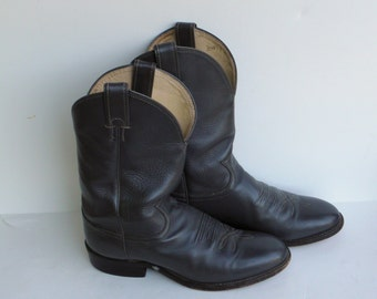 Vintage Cowboy Boots - Justin Boots - Gray Leather Boots