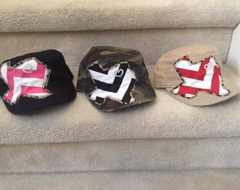 Military Style Hat With Chevron Texas