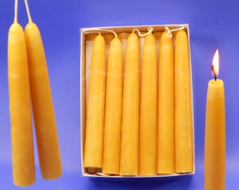 "Beeswax Tapers, 9 Pair of 3/4"" x 6"" Hand Dipped Candles, Box of 18 Beeswax Tapers, Emergency Candles, Pure Beeswax Candles, Dining Candles"