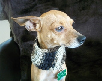 crocheted dog cowl infinity scarf fits most XS or S dogs ~ brown camo ~