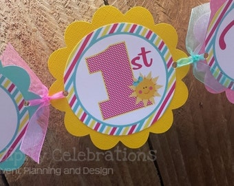 Personalized Happy Birthday Banner -You Are My Sunshine -Birthday Banner -Photo Prop -Sun -Pink Turquoise Yellow