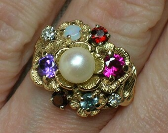 Mother's Ring, Northwest Style Multi Gemstone & Pearl Statement, 14K Gold, Retro era. Size 5