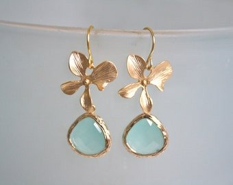 Gold Earrings, Aqua Earrings, Orchid Earrings, Bridesmaid Jewelry, Bridesmaid gifts, Mint Wedding