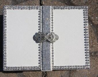 Art Deco Rhinestone Embellished White Jewelry Box Wedding Bridal Velvet