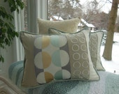 Geometric Decorative Pillow - Modern Graphics Embroidery Pillow - 12 x 16 Lumbar Pillow - Mist, Gold, Beige, Gray and Cream