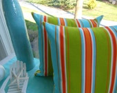 Outdoor Cabana Striped Pillow - Indoor / Outdoor Fabric - Reversible 16.5 x 16.5 Inch Pillow - Turquoise, Orange, Green - Beach Home Pillow