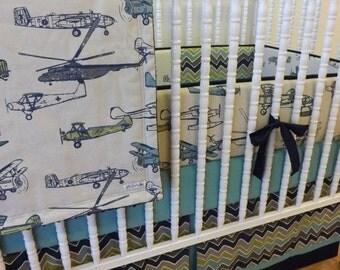 Airplane Crib Bedding- Boy Baby Bedding- MADE TO ORDER- 4 pc Vintage Air Bedding Set--Boy Bedding