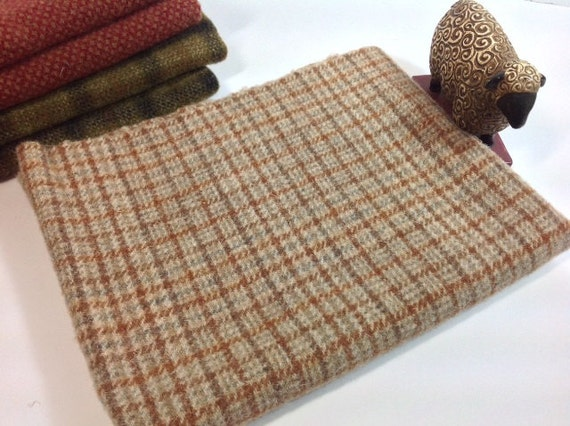 Rug Hooking and Applique Wool, Fat Quarter, Shades of Tan Plaid, J792