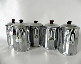 French Vintage Chrome Art Deco  Cannister set