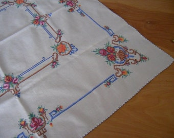 "SOLD Hand Embroidered Tablecloth 32"" Square Vintage Linens"
