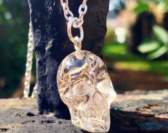 Dried Flower Resin Skull Pendant