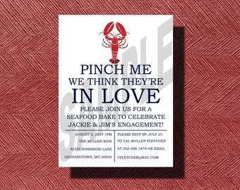 Fun Lobster Pinch Me We Think They're In Love Engagement Party Invitation