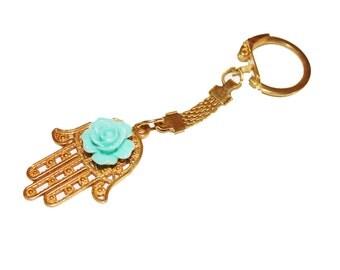 Hamsa keychain, gold keychain, gold key ring, hamsa charm, evil eye keychain, accessories, key chain, hamsa charm key chain
