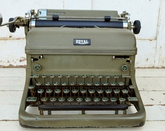 Green Royal Typewriter KMM Magic Margins Green Glass Keys Olive Army Green Wedding Guest Book Photo Prop Decor 1930's
