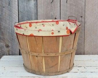 Vintage Wooden Bushel Basket Vinyl Liner Atomic Mid Century Starbursts Polka Dots Red Black Tan 1950's