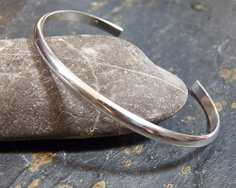 Men's Sterling Silver Cuff - Bangle Bracelet - Heavy gauge - half round - handcrafted - handmade