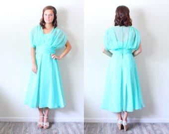 Vintage SMALL // Sea foam green // 50's // turquoise light blue dress // sheer top // a-line dress // Wedding guest dress // Modest dress