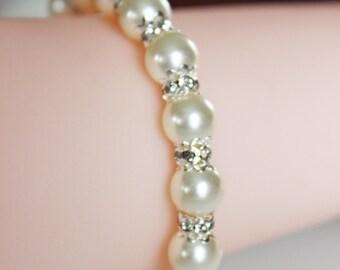 Classic Rhinestone Pearl Bracelet, Bridal Bracelet, Bridal Jewelry, Wedding Bracelet, Bridesmaids Jewelry