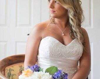 Wedding Pearl Pendant, Pearl Bridal Pendant, Wedding Necklace, Pearl Drop Bridal Necklace, Bridesmaids Wedding Gift