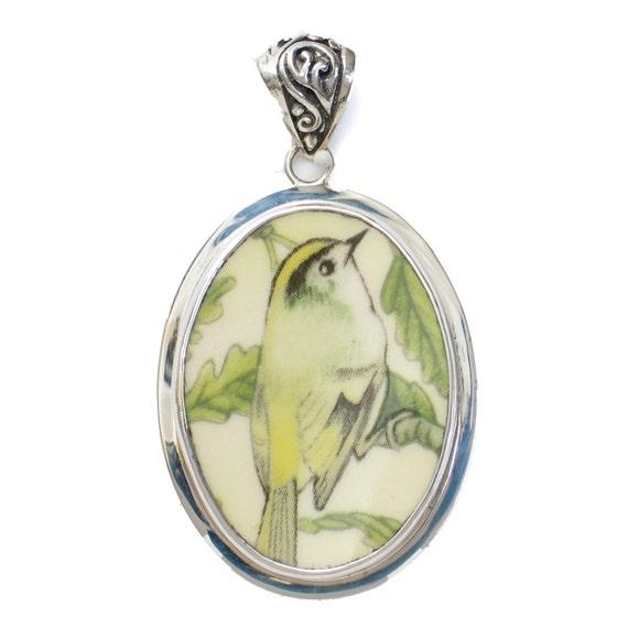 Broken China Jewelry Wedgwood Garden Birds Goldcrest Bird Sterling Pendant