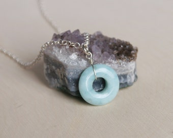 Larimar Pendant Necklace, Blue Stone, Circle Necklace, Larimar Jewelry, Sterling Silver, Everyday