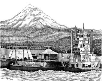 At Work On The Columbia - 11 x 14 Matted Print