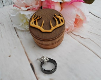 Antler Ring Box Country Wedding Camo Wedding Buck and Doe Wedding Decor Rustic Wood Ring Box Buck Antler Decor